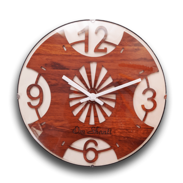 Om Shanti Wooden Art Wall Clock